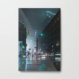 Neon Wet Street Metal Print