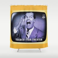 theater Shower Curtains featuring Texaco Star Theater by lanjee