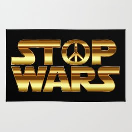 Stop wars in gold - world peace concept Rug