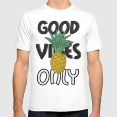 GOOD VIBES ONLY White SMALL Mens Fitted Tee