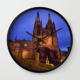 Night view of Burgos Cathedral in Spain. Wall Clock