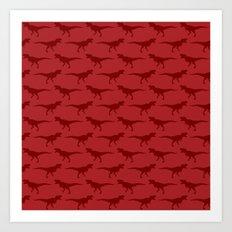 Tyrannosaurus Rex on Red Art Print