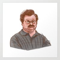 swanson Art Prints featuring Swanson by Hannah Joe