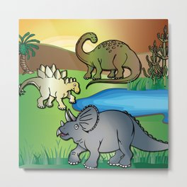 Dinosaurs, Triceratops, Stegosaurus at the Dinosaur water hole by Beebus Marble Metal Print