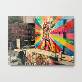 Street Art Mural, Times Square Kiss Recreation Metal Print