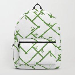 Bamboo Chinoiserie Lattice in White + Green Backpack