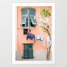 Photo of laundry in Portovenere, Cinque Terre Italy | Fine Art Colorful Travel Photography | Art Print