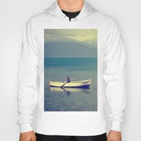 rowing Hoodies featuring rowing a boat in egirdir lake by gzm_guvenc