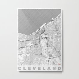 Cleveland Map Line Metal Print