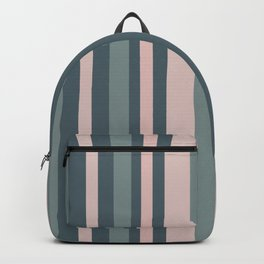 Gray-Green and Mauve Pink Vertical Stripes Backpack