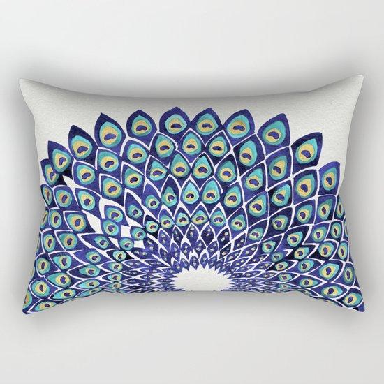 Peacock Mandala – Navy & Gold Rectangular Pillow