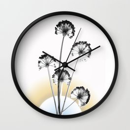 black and white flower wallpaper and the sun, flower decor, printable art Wall Clock