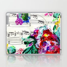 Musical Beauty - Floral Abstract - Piano Notes Laptop & iPad Skin