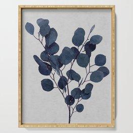Eucalyptus Leaf Stem Botanical Navy Indigo Blue Watercolor Nature Farmhouse Painting Art Print Wall Decor Serving Tray
