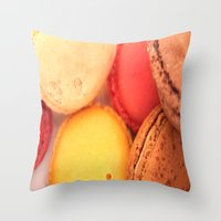 macaroons Throw Pillows featuring Macaroons by alexarayy