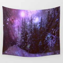 Galaxy Winter Forest Purple Wall Tapestry