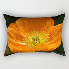 Orange Poppy Flower Rectangular Pillow