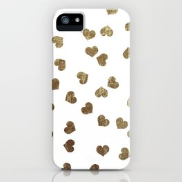 Glamorous Faux Gold Hearts Pattern iPhone Case