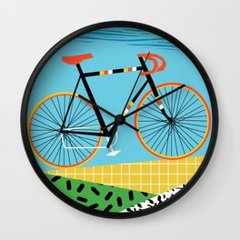 Roadie - peugeot px10, bicycle art print, cycling art, gifts for cyclists, memphis art print Wall Clock