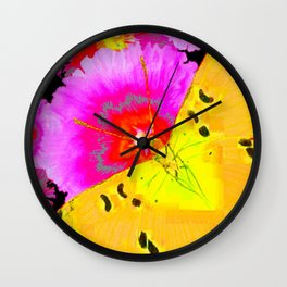MODERN ART YELLOW BUTTERFLIES & FUCHSIA PINK FLOWERS Wall Clock
