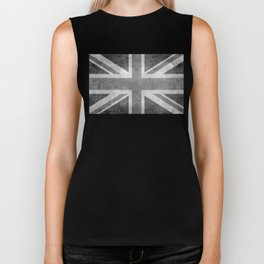 Union Jack Vintage 3:5 Version in grayscale Biker Tank