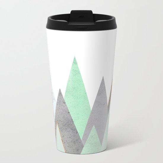 MINT COPPER MARBLE GRAY GEOMETRIC MOUNTAINS Metal Travel Mug