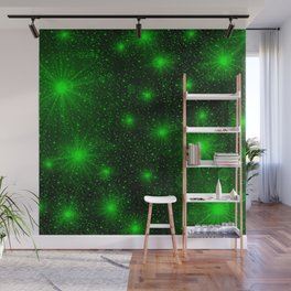 bright little green hearts and stars Wall Mural