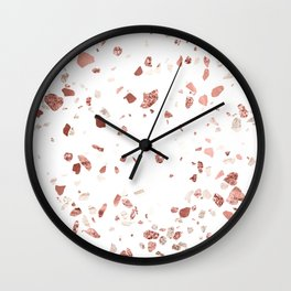 Metallic Rose Gold Terrazzo Wall Clock