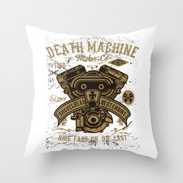 Death Machine Motor Co Motorcycle Shop Throw Pillow