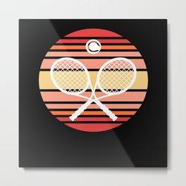Tennis Retro Racket Ball Metal Print