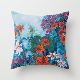 Blue Jungle of Orange Lily and Pink Trumpet Vine Floral Throw Pillow
