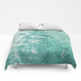 Surfing in the Ocean Comforters