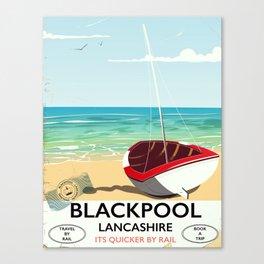 Blackpool, Lancashire, Rail poster Canvas Print