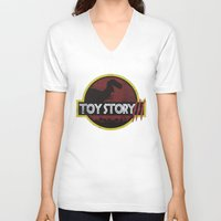 toy story V-neck T-shirts featuring toy story / jurassic park by tshirtsz