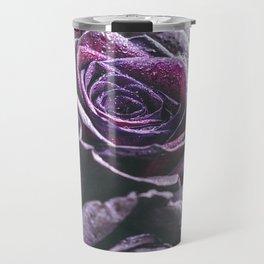 Macro photography of purple roses with raindrops. Fantasy and magic concept. Selective focus. Travel Mug