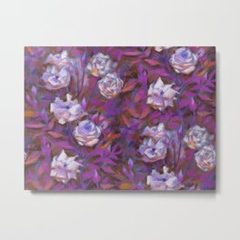 White roses, purple leaves Metal Print