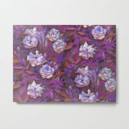 """White roses, purple leaves"", floral pattern Metal Print"