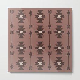 Southwestern Arrow Pattern 244 Beige Brown and Tan Metal Print