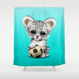 White Tiger Cub With Football Soccer Ball Shower Curtain