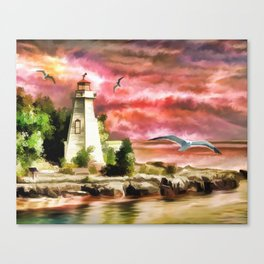 Lighthouse During Sunset Canvas Print