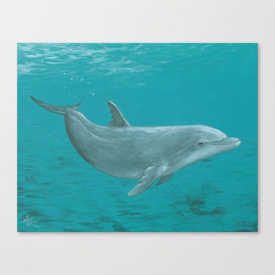 """Shallow Reef"" by Amber Marine ~ Dolphin Art ~ Acrylic Painting, (c) 2014 Canvas Print"