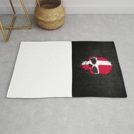 Flag of Denmark on a Chaotic Splatter Skull Rug