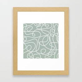 Doodle Line Art | White Lines on Light Gray Green Framed Art Print