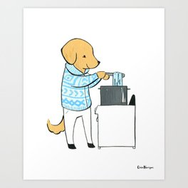 Golden Retriever Indie Yarn Dyer (Dogs with Jobs series) Art Print