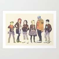 teen titans Art Prints featuring Teen Titans Streetwear by L. Tharp