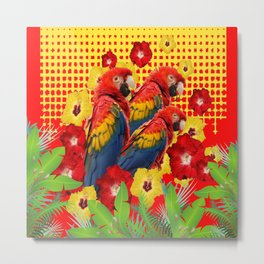 GREEN TROPICAL YELLOW MACAWS & RED YELLOW HIBISCUS Metal Print