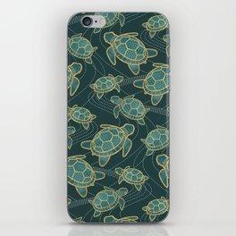 Japanese Pond Turtle / Teal iPhone Skin