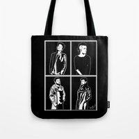 1975 Tote Bags featuring 1975. by Spazy Art