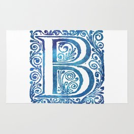 Letter B Antique Floral Letterpress Monogram Rug