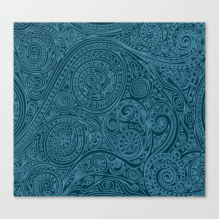 Doodle spiral sea green Canvas Print